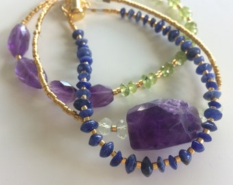 Gemstone and gold plated bracelet