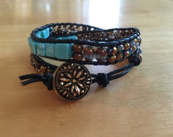 Double Black Leather Wrap Bracelet
