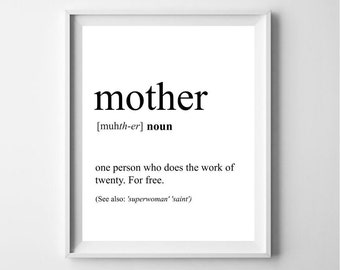 Mom definition Mother quote Mom printable Gift Mom