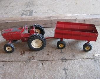 Metal Toy tractor & Cart