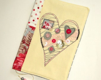 Handmade Fabric Book Cover with Embroidered Heart Travel Notebook Case Reusable Pink and Gray Diary Cover Gift for Her