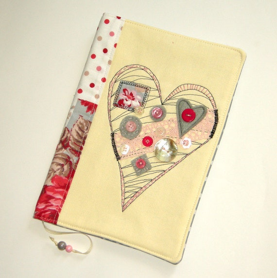Fabric Book Cover Etsy : Handmade fabric book cover with embroidered heart travel