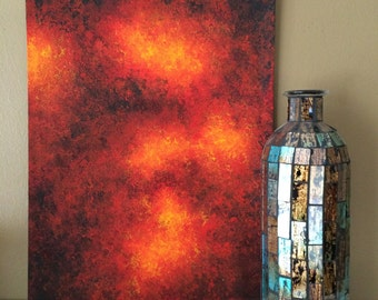 Original Abstract Acrylic Painting | Fire on a Scorched Earth