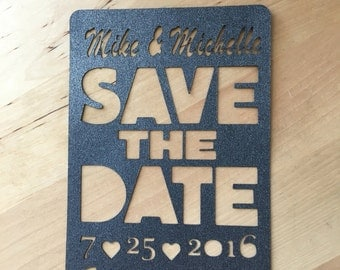 Save the Date - wedding announcement, paper cut out silhouette