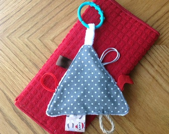 Baby Sensory Toy - Tag Toy - Baby Toy - Baby Shower Gift - Taggie - Monkey Gray White Red - Crinkle Toy