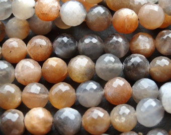 8mm faceted Moonstone rounds, 46cm string, 54 beads (2728)