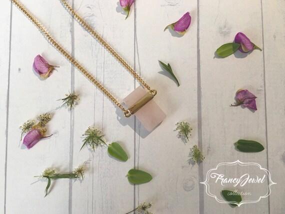 Pink quartz necklace, precious stone, natural stone, 18k gold plated, quartz pendant, romantic, wedding gift, bridesmaid gift