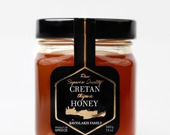 Cretan Thyme Honey by Saviolakis Family 340 gr.  Made in Sfakia Crete Greece for over 250 years!