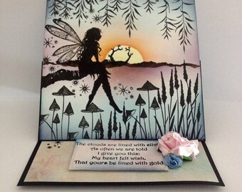 fantasy easel card/ handmade/Any occasion/ Birthday card/Friendship/Love/Just for you/seasons