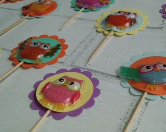 Owl Cupcake Toppers (set of 12): cupcake picks, birthday, party decor, baby shower, pastel colors