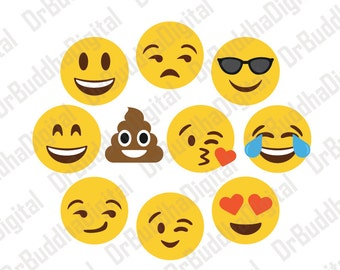 Sale! Emoji SVG Collection - Emoji DXF - Emoji Clipart - Svg Files for Silhouette Cameo or Cricut