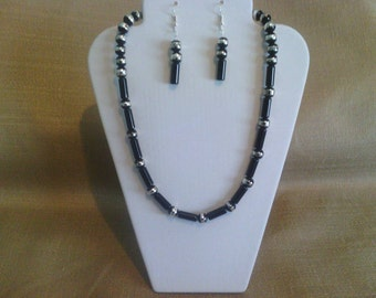 234 Black and Silver Hand Painted Round Glass Beads Beaded Choker