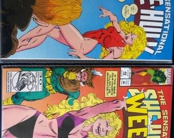 Set of 2 She-Hulk comic books, The sensational She-Hulk  February 1989 , She-Hulk 1989 series, She-Hulk March 1989, Marvel comics