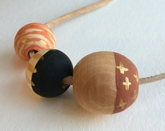 SALE - Wooden bead necklace, painted wood beads, hand made jewelry, original art
