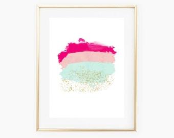 Printable Art, Paint Swatch Art Print, Watercolor Brush Stroke Art, Pink Mint Gold Art Print, Dorm Room Art, Nursery Art, Pastel Nursery Art