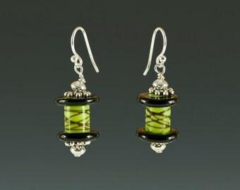 Black Glass Spool  earrings - lime green