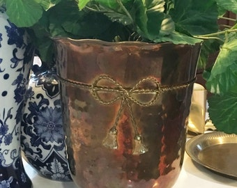 Tall brass patina planter
