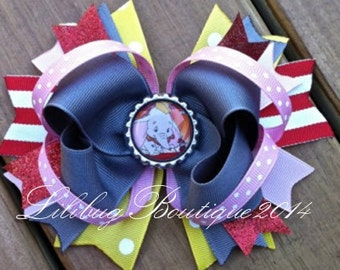 Dumbo Inspired Boutique Layered Hair Bow, Boutique Bow, Red and White Striped, Blue and Purple, Polka Dots