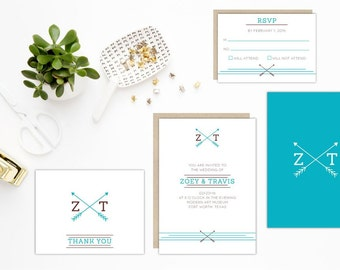 Arrow In Love Hipster Wedding Invitation Set Eco Friendly Wedding Recycled Paper Modern Wedding Invitation Suite