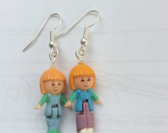 Hand made vintage polly pocket earrings