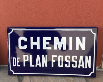 Old French Street Enameled Sign Plaque - vintage fossan