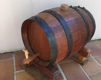Vintage french wine vinegar barrel wood middle size