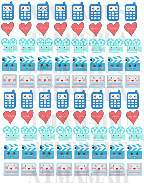 Kawaii Youtube and Filming Planner Stickers and Labels - Cute Planner ...