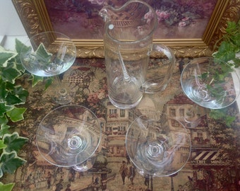 Vintage Martini pitcher and glasses