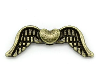 "20 metal beads ""Angel wings with a heart"" - 20 * 7 mm - bronze / H1-0654"