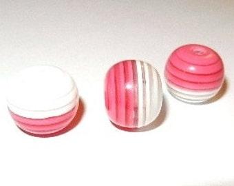 15 Resinperlen - 12 mm - pink-white / J1-0746