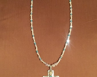 Handcrafted Calvary Ice made with Swarovski :  Necklace