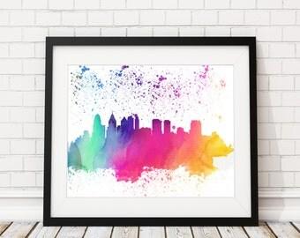 Philadelphia Skyline Print, Cityscape Print, Philadelphia Watercolor Art, Philly Skyline Painting, Watercolor Painting, Silhouette Art, Gift