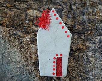 Paper Mache House Brooch, Paper Jewelry, Eco Friendly Brooch, Recycled Jewelry, Unique Gift