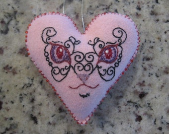 Pink Felt Heart Cat Embroidered Christmas Ornament