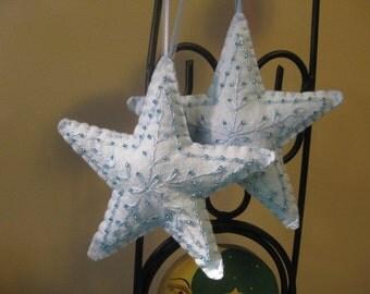 Baby Blue Felt Christmas Star Ornament
