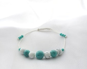 Turquoise Czech Glass Beaded Bracelet Jewelry Gift For Her Boho Minimalism Style Accessories