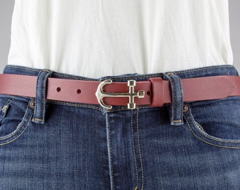 Anchor Belt in Red, NFN Buckle