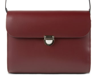 Burgundy Leather Crossbody/Shoulder Bag made in London