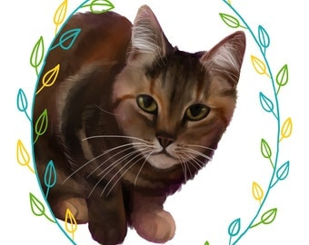 Custom Pet Portrait DIGITAL FILE: Digital painting of your cat, dog, rabbit, rat, parrot, hedgehog etc. Perfect gift for animal lovers!