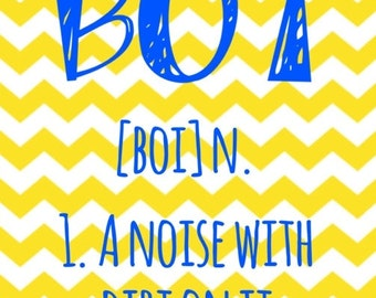 Yellow chevron cute 'Boy' definition printable