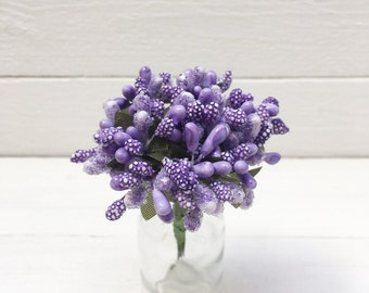 Bunch of 10 Pip Berries, Lilac Pip Berries, Millinery Flower, Pip Berry Cluster, Wired Flower, Chrisrtmas Berries, Pip Berries, Berry Stamen