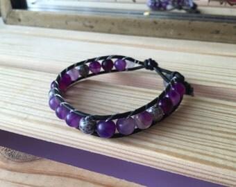 Single wrap bracelet, purple, gray, black leather, boho