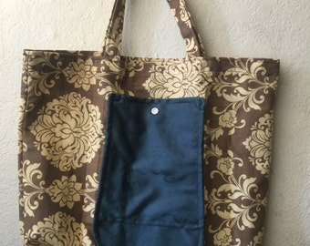 Brown and real tote