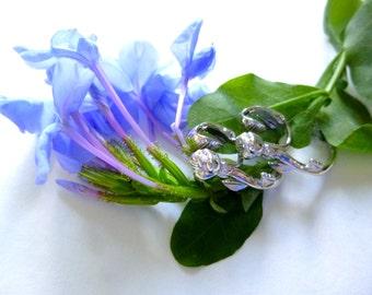 Avon Rose Hoop Earrings Flower Clip On * 1982 * Silvertone Fashion Jewelry * Vintage * Never Worn