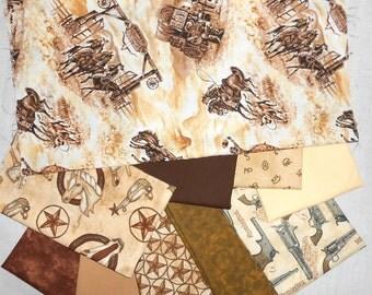 Fat Quarter Bundle 10pc. Western Denim Fabrics/Kona Solid/Brown Mottled Prints/Remington Gun Fabric (#O31)