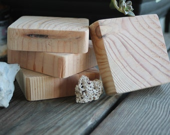 Rustic Wood Grain Coaster Set 4PC