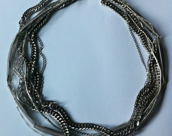 Multiple chain metal necklace