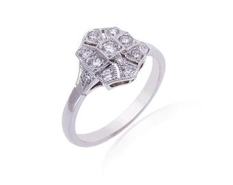 R026. Art Deco Style Diamond Panel Ring