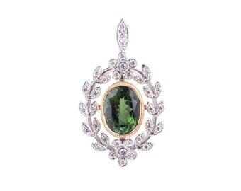 P039 Edwardian Belle Epoch Style Green Tourmaline and Diamond Pendant