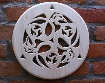 Openwork wooden disk - celtic Triskel pattern- linden wood- wall hanging